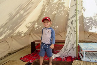 In a tent at Earthen Place Cafe in Hayama