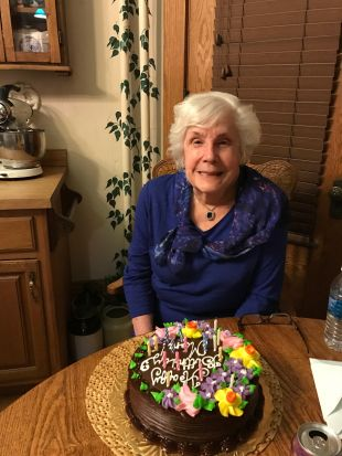 Mom and her birthday cake. 87 years old