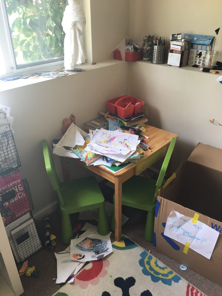 L's art area today. MUCH more representative of what it usually looks like.