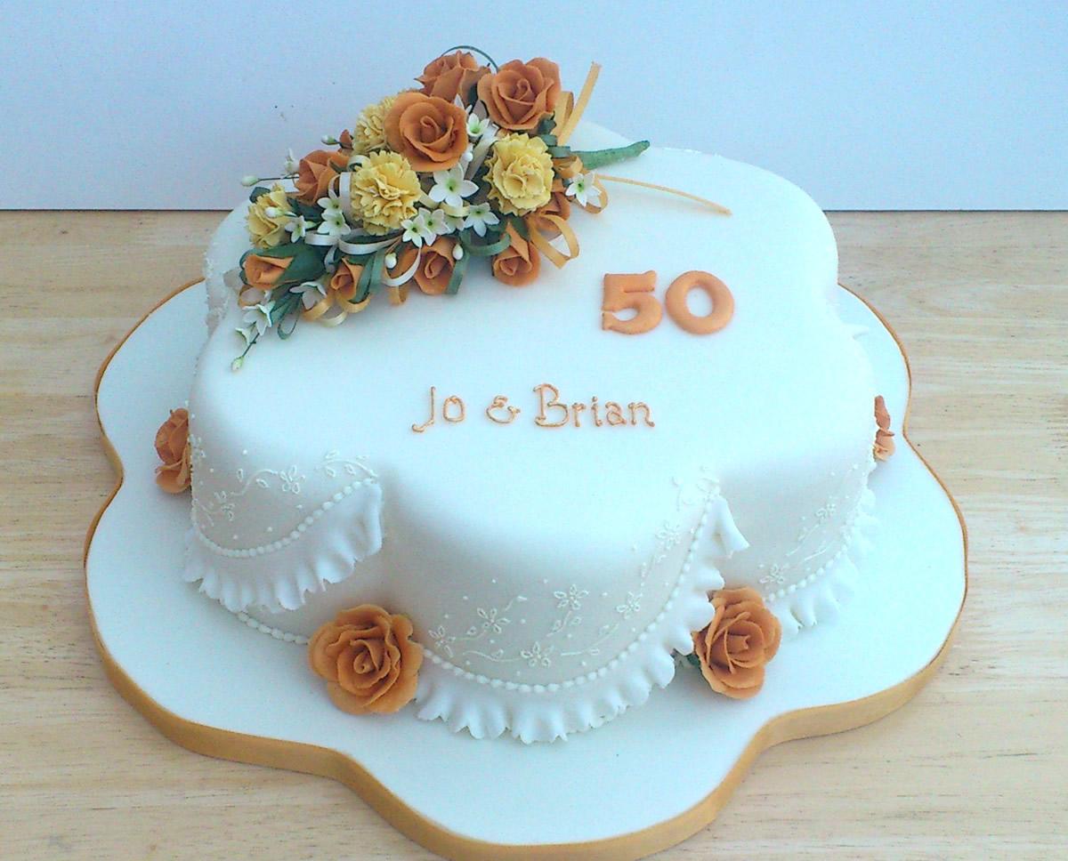 Golden Wedding Anniversary Cake With Sugar Flowers « Susie