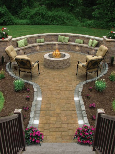 outdoor patio with fire pit designs Hardscaping and Landscape Products - Susi Builders Supply