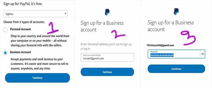 new paypal account create