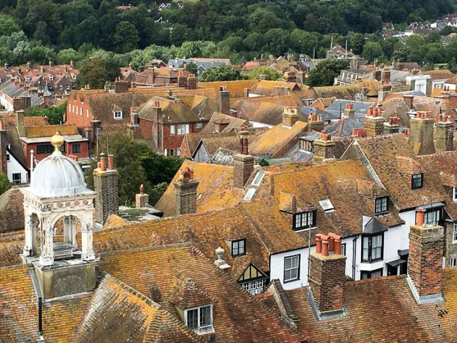 Rye rooftops in East Sussex
