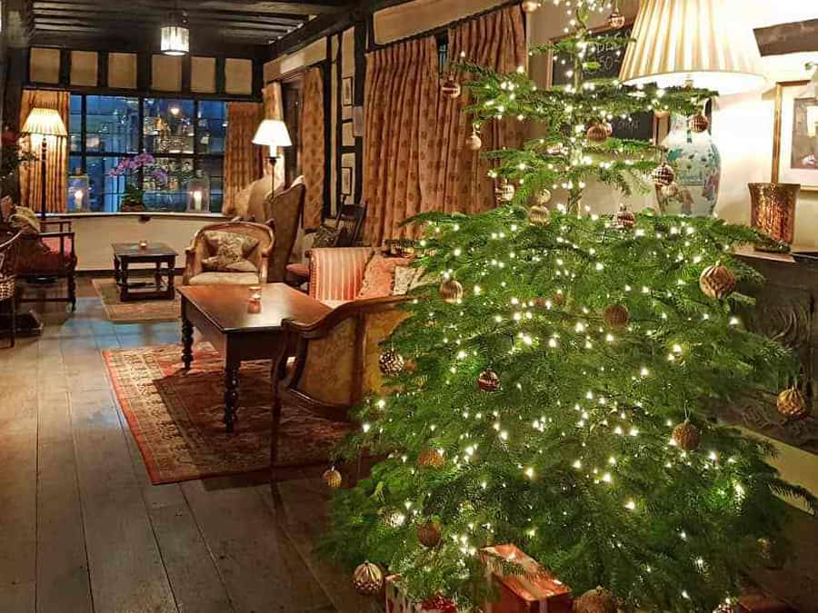The bar at The Spread Eagle at Christmas, Midhurst, West Sussex, England