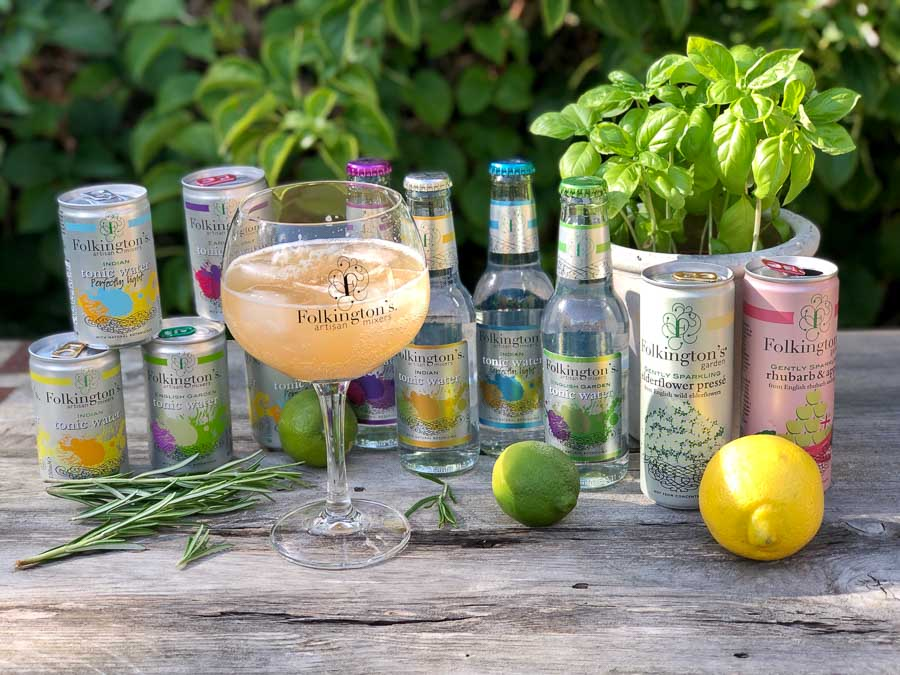 A range of mixers and juices from Folkingtons drinks