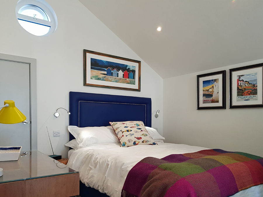 Master bedroom at the Beach Hut Suites, Felpham