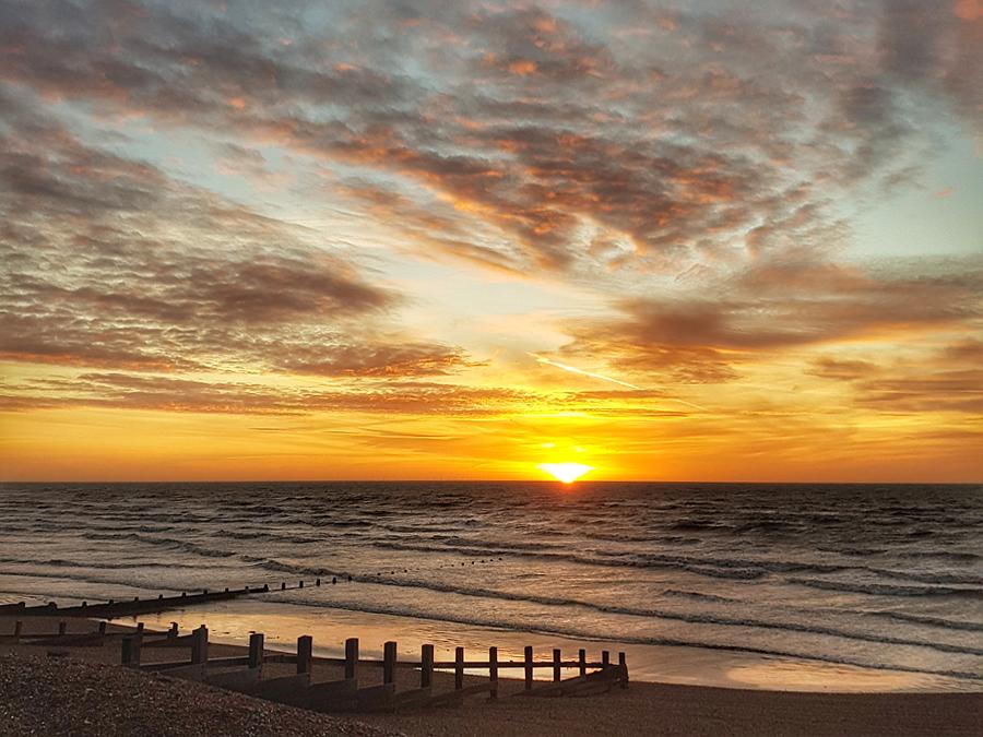 Sunrise from the Beach Hut Suites, Beachcroft Hotel, Felpham, Bognor Regis