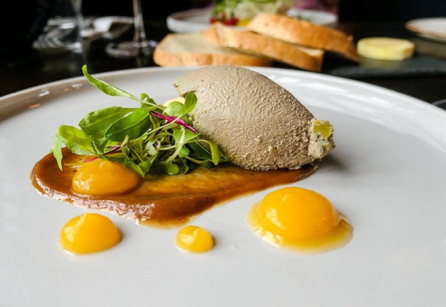 Chicken liver pate with pear chutney and orange