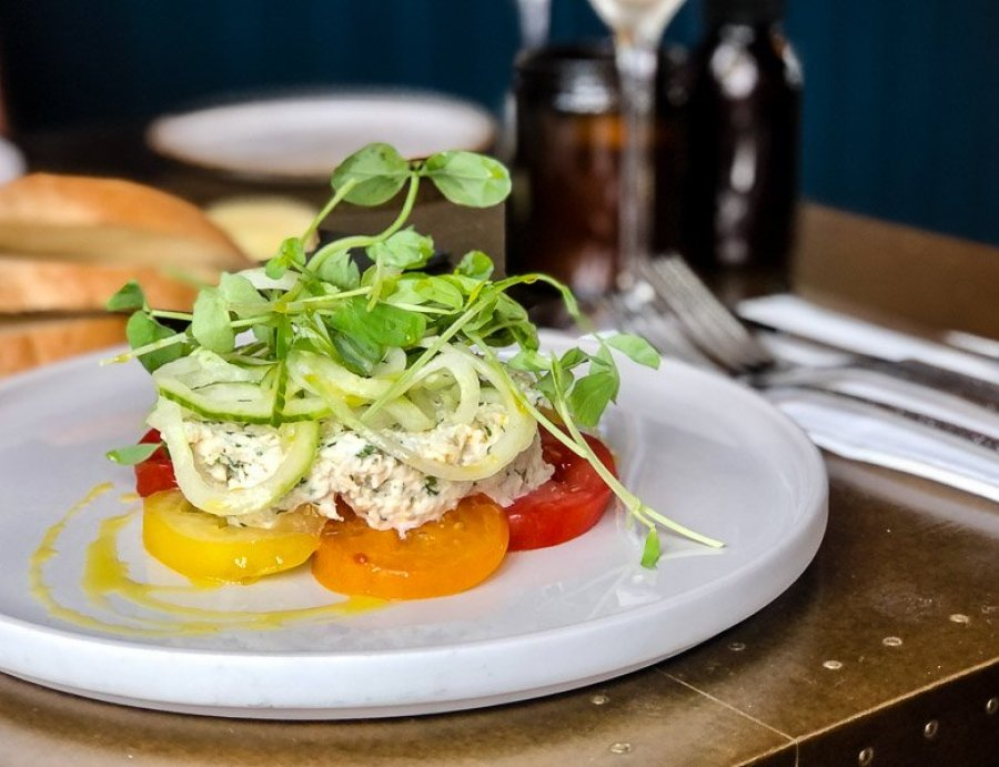 Crab salad with heritage tomatoes