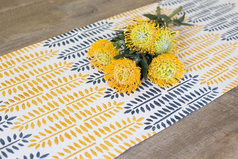 table-runner-sunshine-fern-block-print-lyl