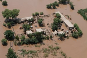 An aerial view of a flooded area in Muzzafargarh