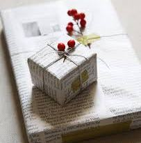 Gift wrapped in newspaper and twine