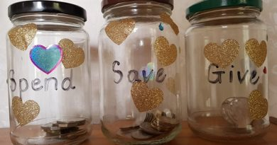 Three jars for kids to budget money: spend, save, give