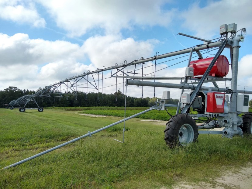 Long piping irrigation system over a field of green crop.