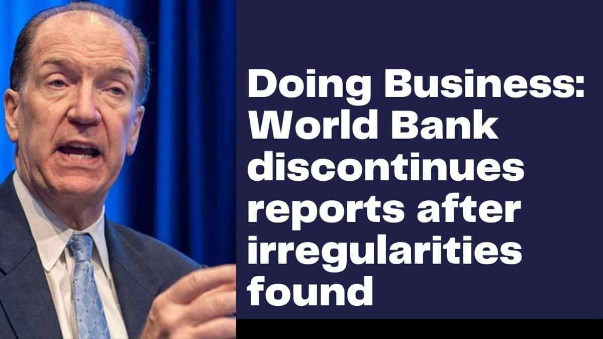 World bank president talking about doing business discontinuation