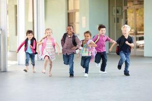 Running school kids