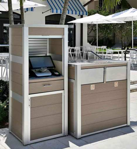 Tap the picture to link to more information about this Custom weatherproof Point of Sale Cabinet and Modern Combination Trash and Recycling Receptacle