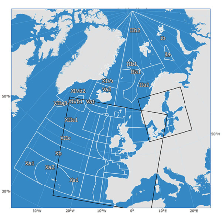 Figure 1. ICES Statistical Areas in the NE Atlantic
