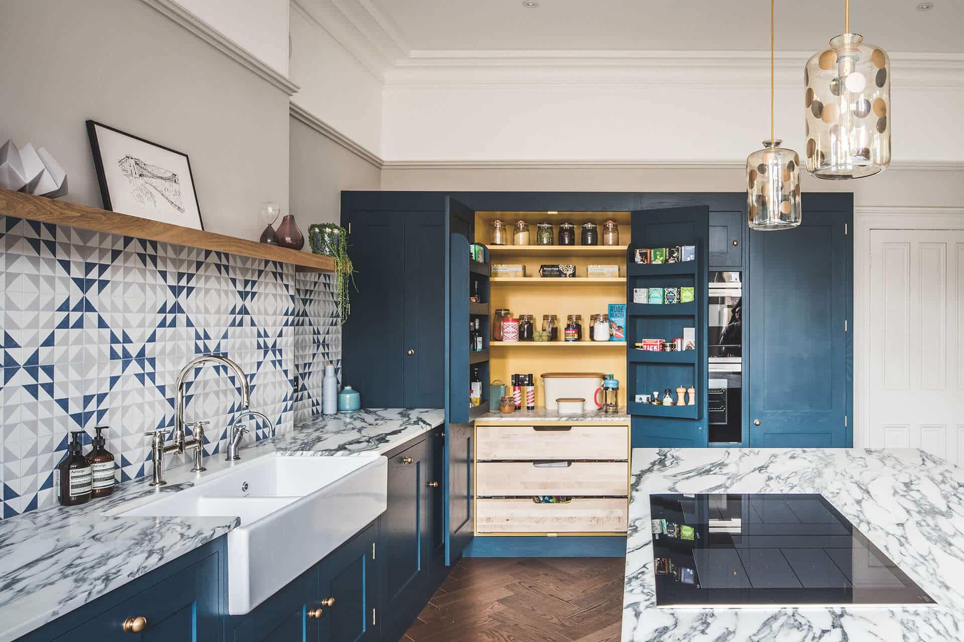 Kitchen Cabinets Painted Dark Blue