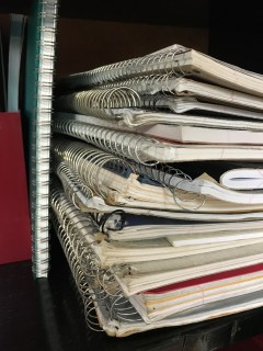 Notebooks free to take from the Office Supply Share. (Image courtesy of The Sustainability Office)