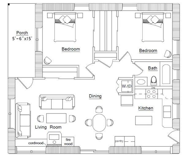 Cordwood House floor plan