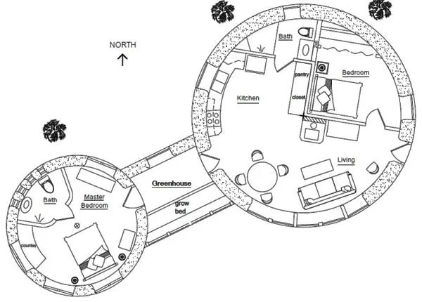 Two Roundhouses Floor Plan