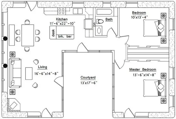 U-Shaped House Plan
