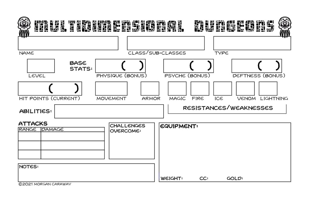 Updated Character Sheet