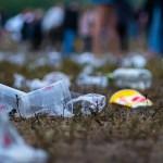 plastic littered on grass