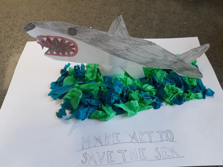 Lockdown competition - Callum age 8 and shark art