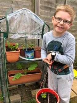 David age 9 and plants