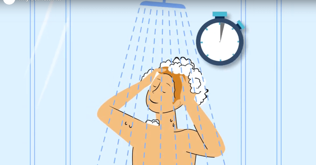 An illustration of a person washing in the shower with a