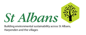 Green and white text logo with tree icon for Sustainable St Albans
