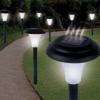 Solar accent lighting along both edges of a garden path