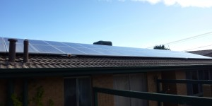 two rows of solar panels cover one side of our home's roof