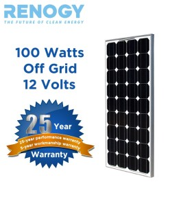 RENOGY 100 Watt 100w Monocrystalline Photovoltaic PV Solar Panel Module 12V Battery Charging