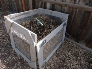 A home made compost bin, 2/3 filled