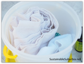 Homemade disinfectant wipes in a bucket