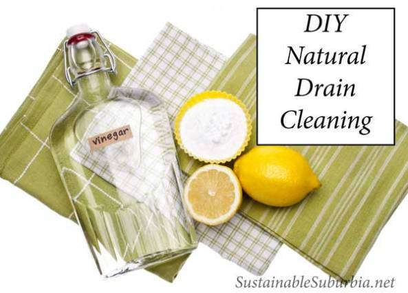DIY Natural Drain Cleaning with vinegar, lemons and bicarb soda