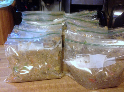 Healthy Homemade Dog Food in ziploack bags  | SustainableSuburbia.net