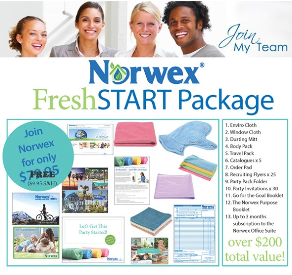 Join Norwex for Free in New Zealand, Norwex Fresh Start Package, Now FREE, enviro cloth, window cloth, dusting mitt, body cloth pack, travel pack, and business supplies!