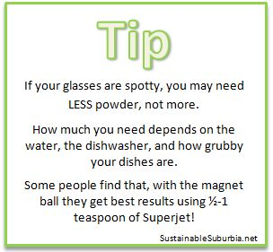 Tip - if your glasses are spotty, you may need less powder not more | SustainableSuburbia.net