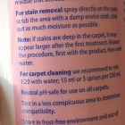 Product label - description and instructions | Norwex Carpet Stain Buster is the complete carpet cleaning solution, solving shampooing, spot cleaning, deodrizing and neutralizing needs. A simple and effective method of eliminating protein-based stains and odours. | Sustainable Suburbia
