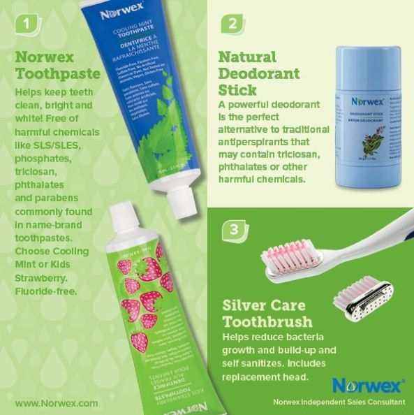 Norwex Natural deodorant stick, tooth paste, and silver care toothbrush | SustainableSuburbia.net