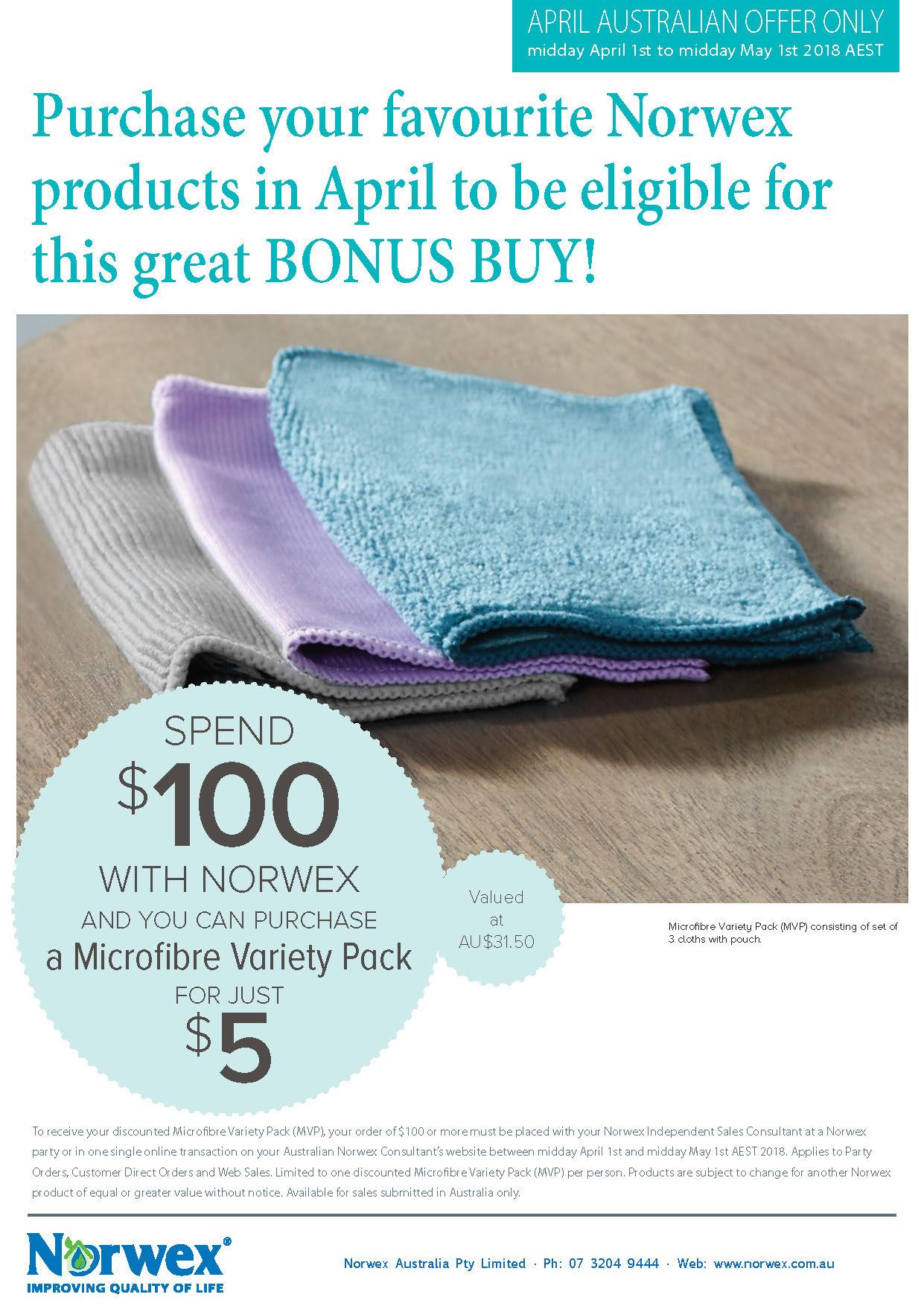 Norwex bonus buy, Australia only, April2018