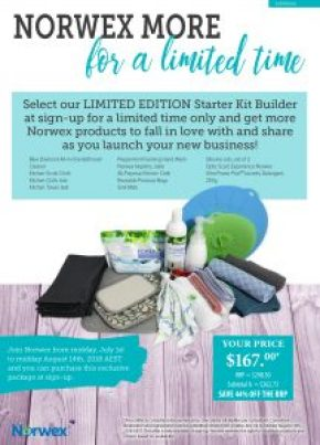 Norwex Limited Edition Starter Kit Builder Pack save 44 percent, available until midday 14 August, 2018 | SustainableSuburbia.net