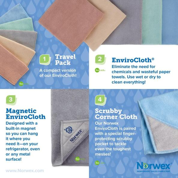 Four Envirocloth options: The Norwex Travel pack - a compact version of our envirocloth in a set of 5; the full size Envirocloth - Eliminate the need for chemicals and wasteful paper towels. Use wet of dry to clean everything; the Magnetic Envirocloth - designed with a built in magnet so you can hang it where you need it- on your refrigerator, oven, or any metal surface! And the Scrubby Corner Cloth: Our norwex envirocloth paired with a special finger protecting scrubby pocket to tackle even the toughest messes!