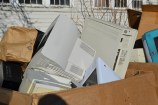 E-Waste piles up at the U's annual e-waste collection.