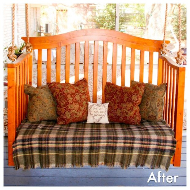 10 ways to repurpose a baby crib - cozy porch swing from baby crib