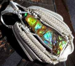 Blue Zone Canadian Ammolite in Sterling Silver Pendant